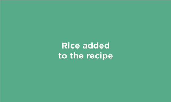 Rice added to the recipe.